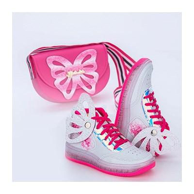 Tênis e Bolsinha da Valentina Pontes Branco e Pink com Asas e Glitter