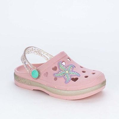 Babuche Baby Menina Mar e Cor Rosa Nude e Glitter Sereia