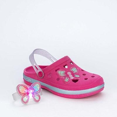 Babuche Infantil Menina Mar e Cor Pink e Pulseira com Led