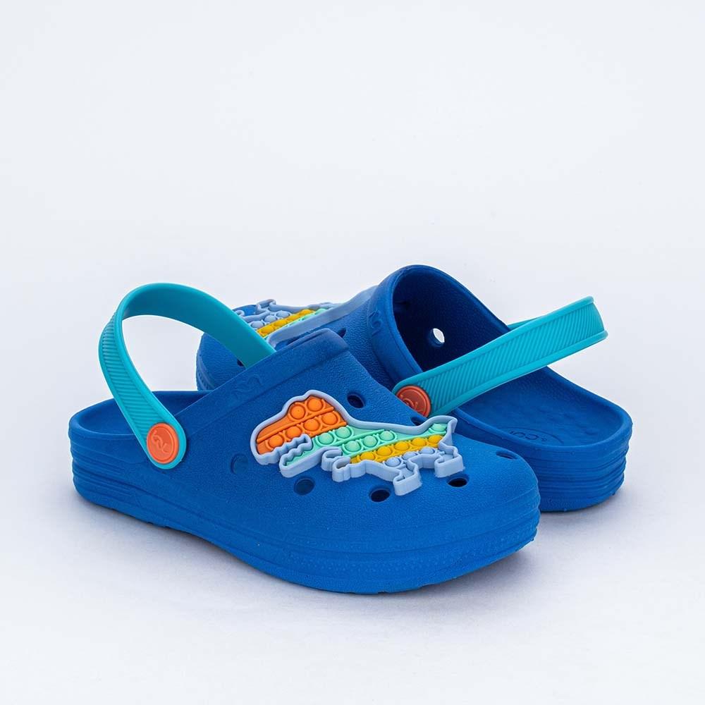 Babuche Infantil Menino Aquarela Mar e Cor Pop It Azul Royal