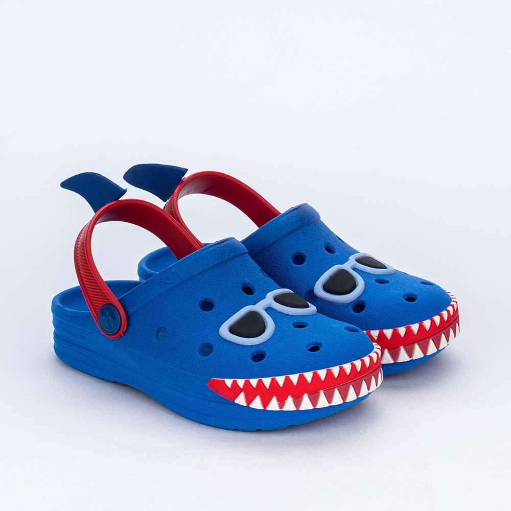 Babuche Infantil para Meninos Mar e Cor Azul Royal Tubarão