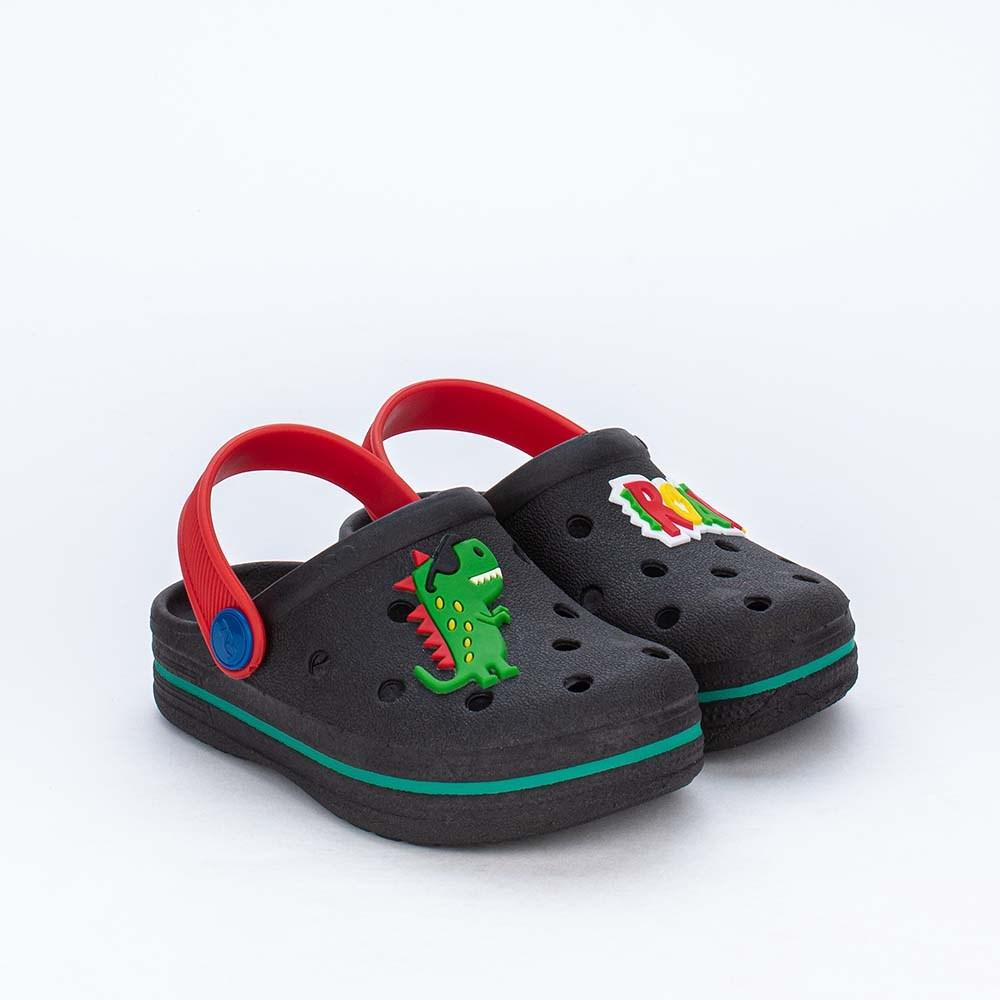 Babuche Infantil para Meninos Mar e Cor Dragãozinho Preta