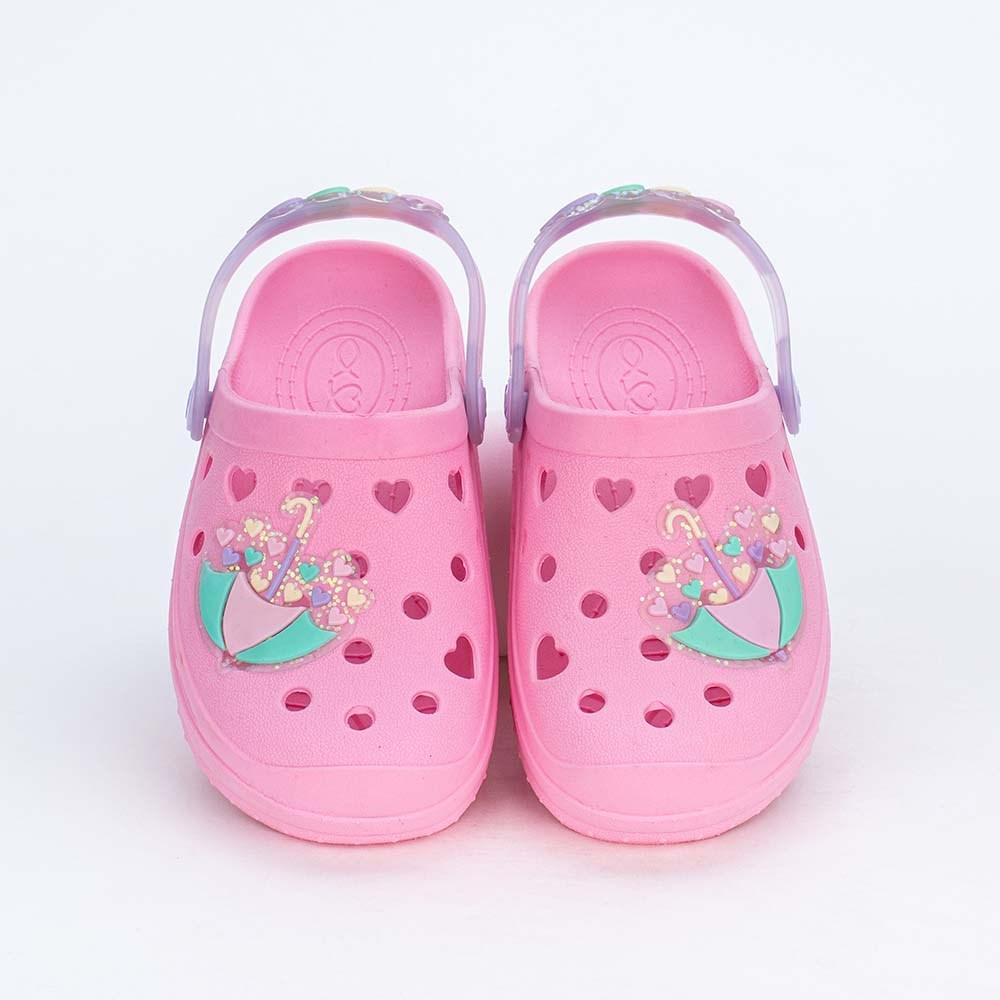 Babuche para Bebê Menina Mar e Cor Rosa com Corações