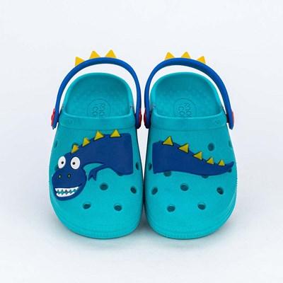 Babuche para Bebê Menino Aquarela Mar e Cor Azul com Dino