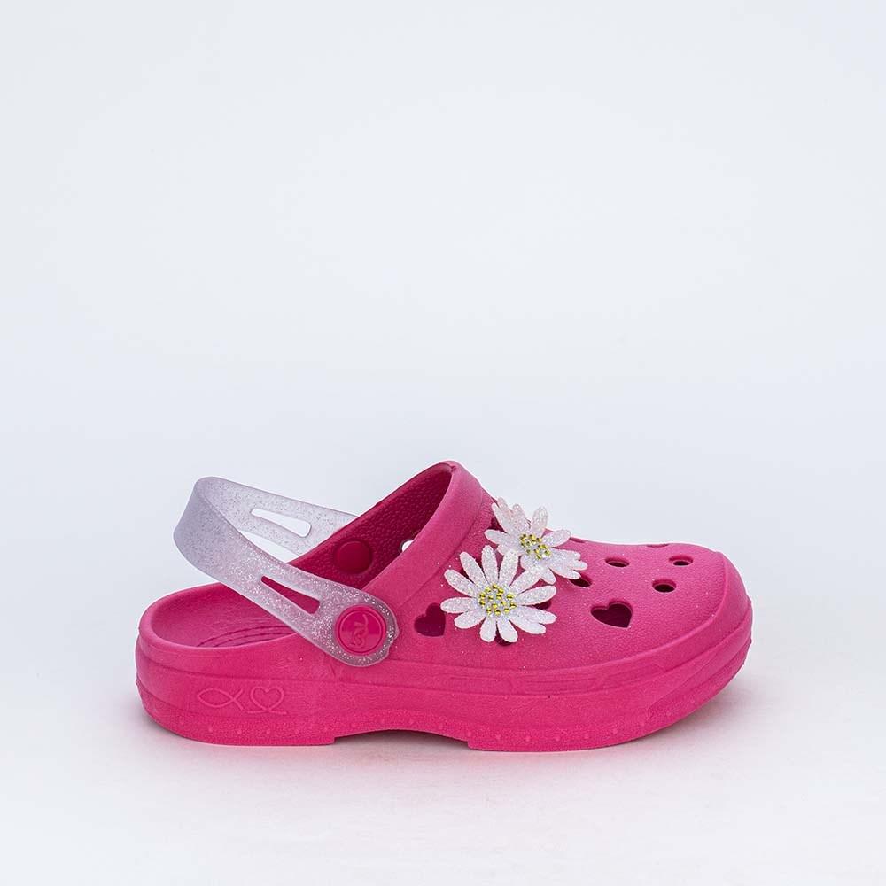 Babuche para Menina Aquarela Sabrina Sato Pink com Flores