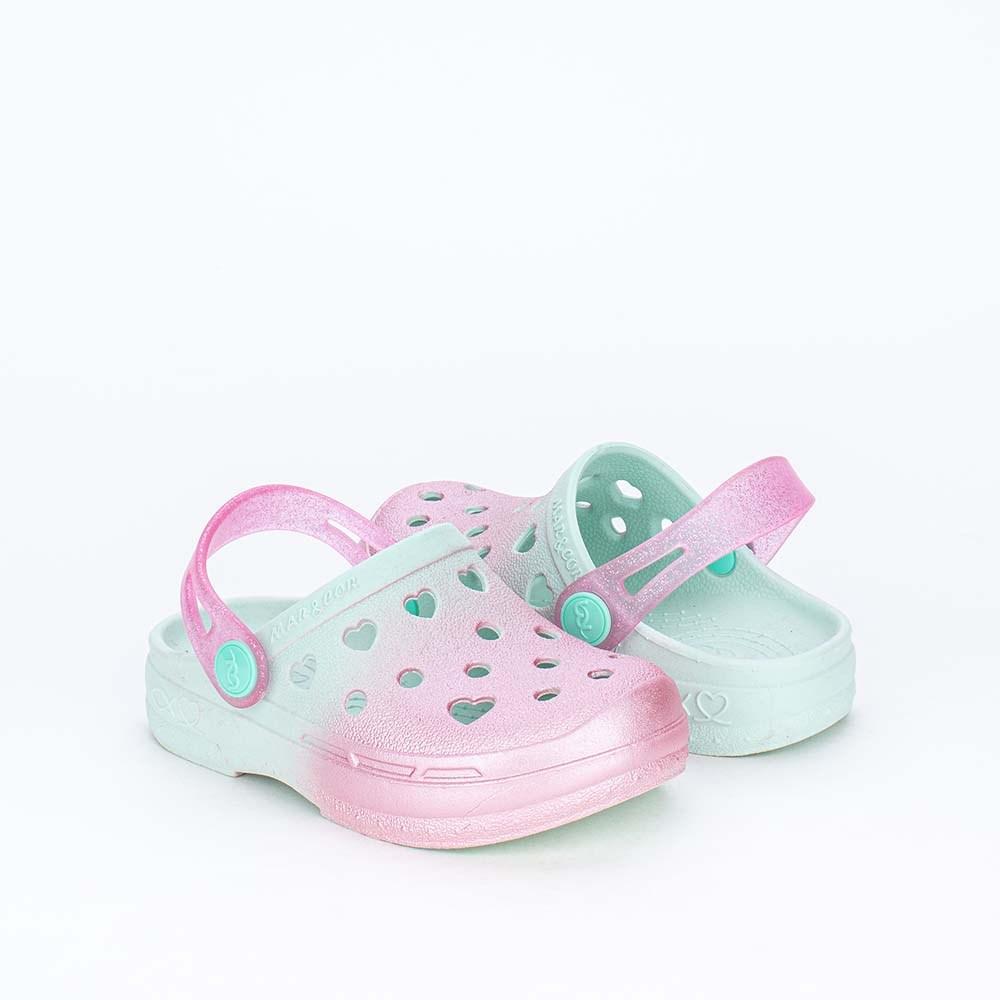 Babuche para Meninas Mar e Cor Aquarela Baby Verde Glitter