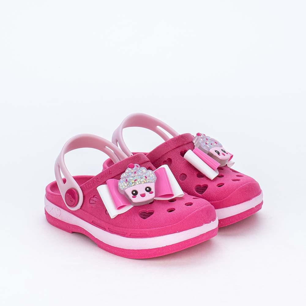 Babuche para Meninas Mar e Cor com Cupcake de Led Pink