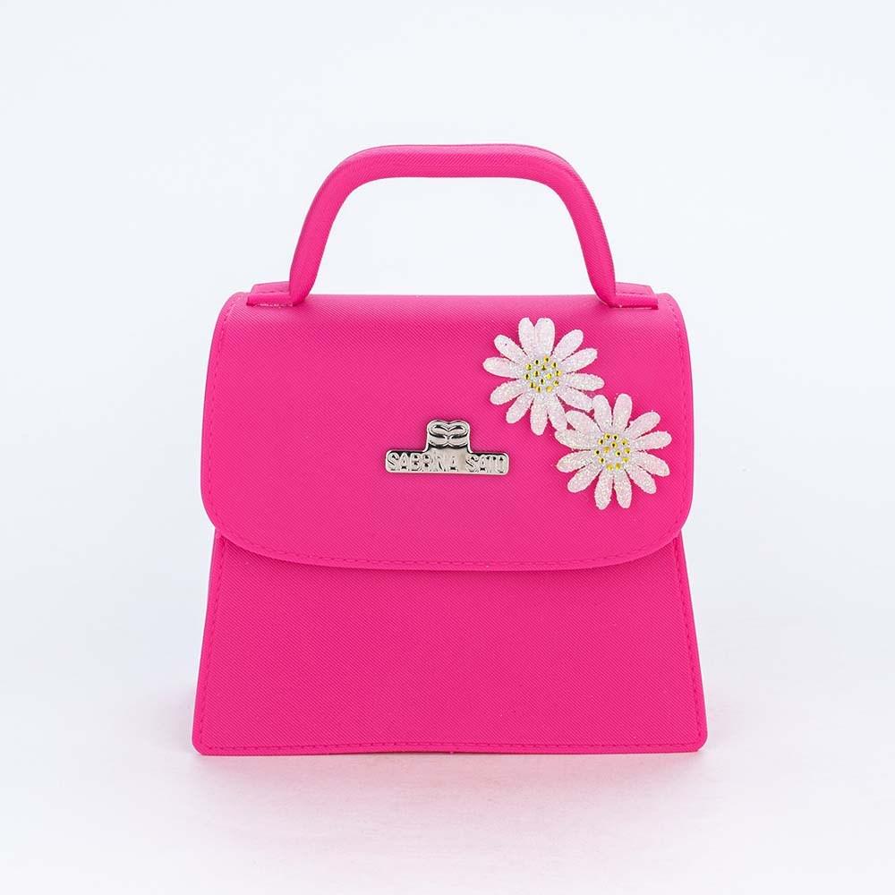 Bolsa para Meninas Sabrina Sato Pink com Aplique de Flores