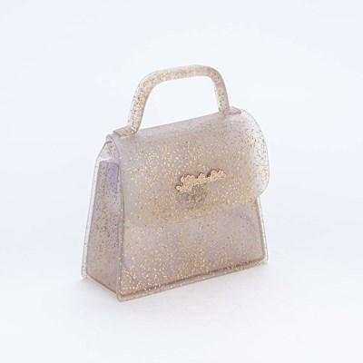 Bolsa Valentina Pontes by Kidy Transparente com Glitter Ouro