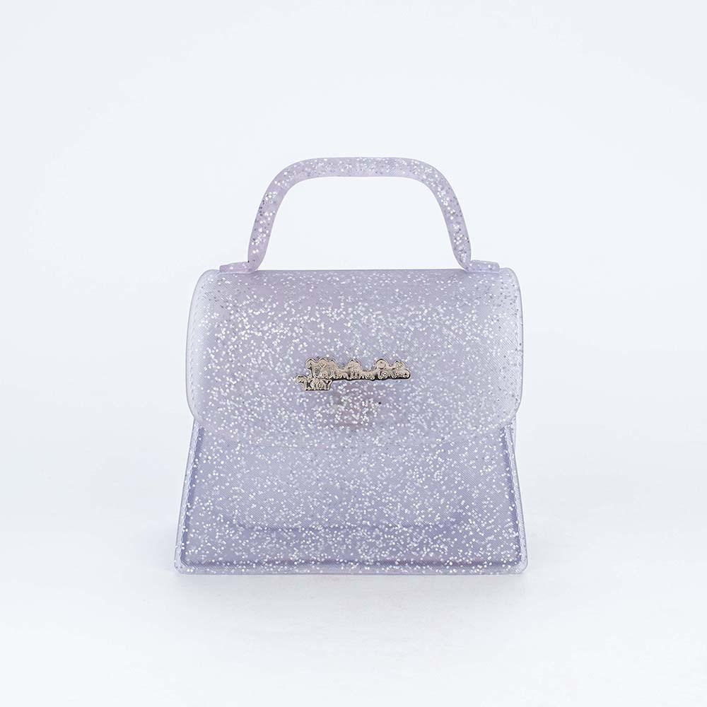 Bolsa Valentina Pontes by Kidy Transparente com Glitter Pink