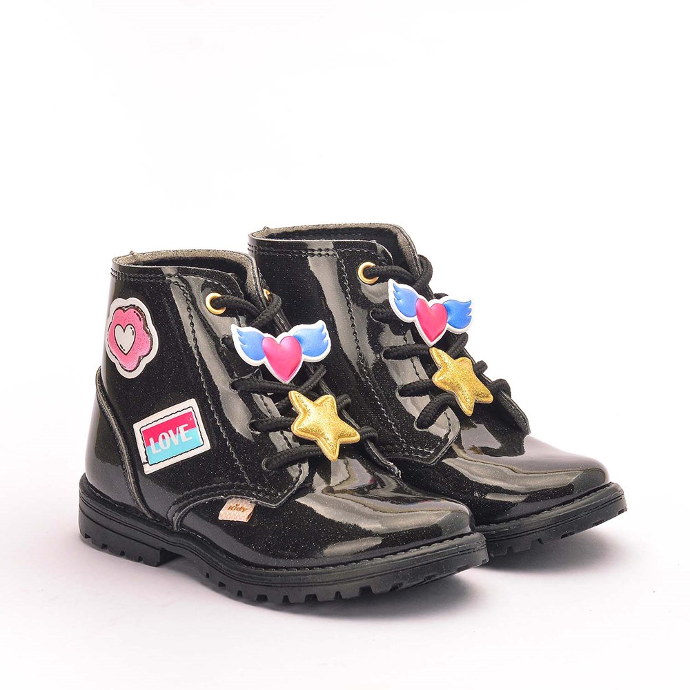 Bota Infantil Feminina Fashion com Patches Preta
