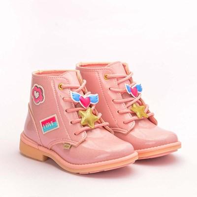 Bota Infantil Feminina Fashion com Patches Rosa