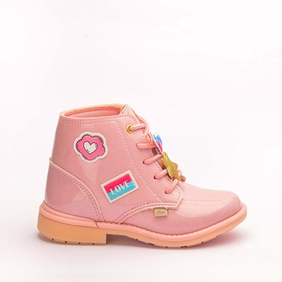 Bota Infantil Feminina Fashion com Patches Rosa