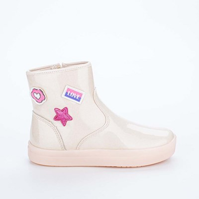 Bota Infantil Feminina Fun com Patches Marfim