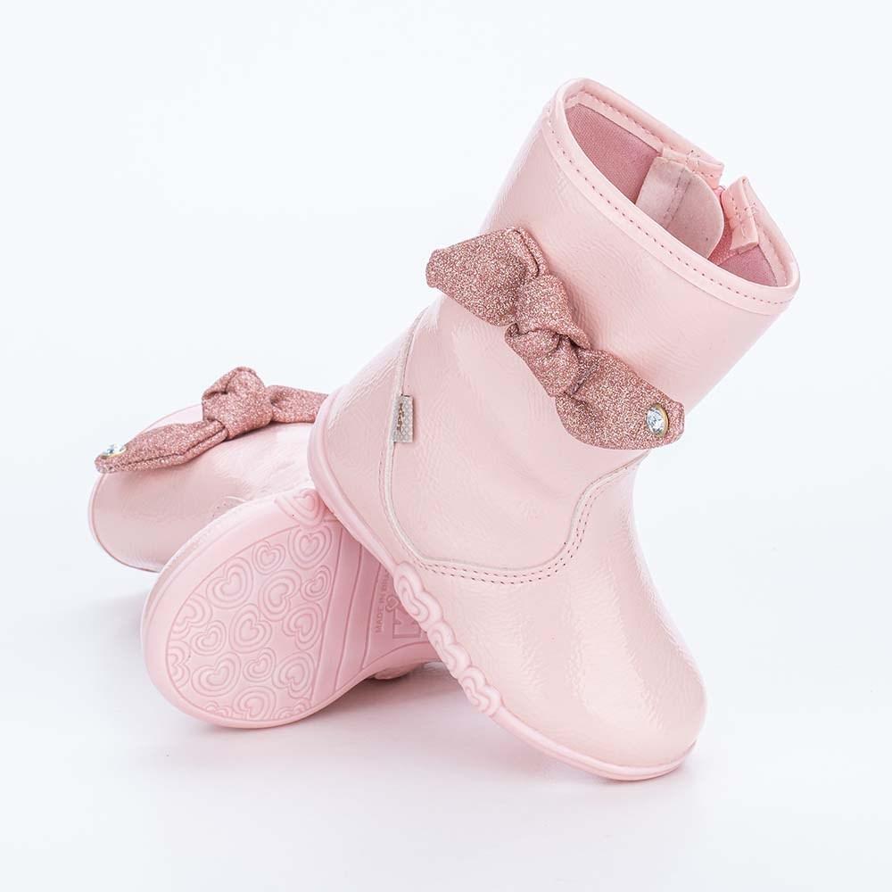 Bota Infantil Feminina Kidy Soft Nude de Laço com Glitter
