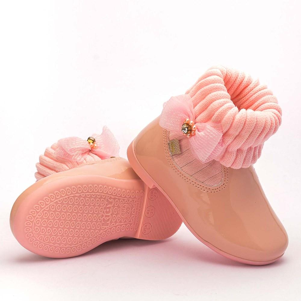 Bota Infantil Feminina Soft com Laço Nude