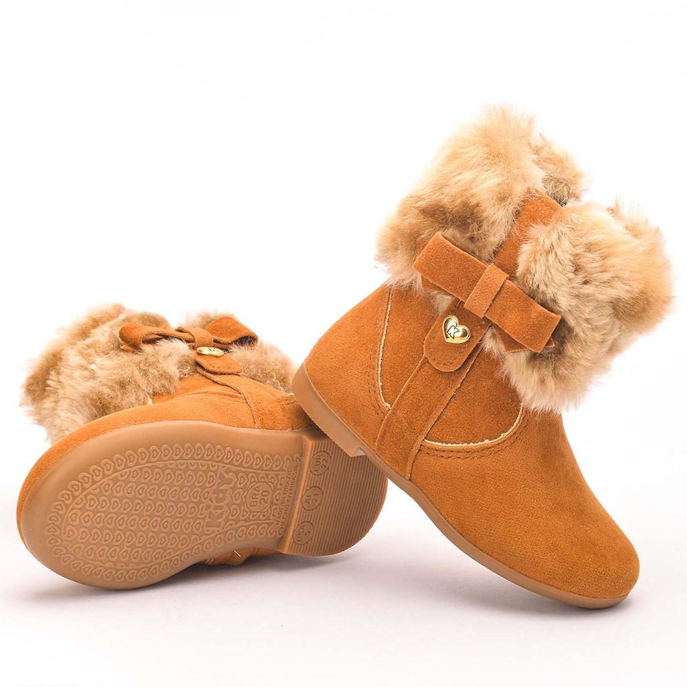 Bota Infantil Feminina Soft com Pelo Camel