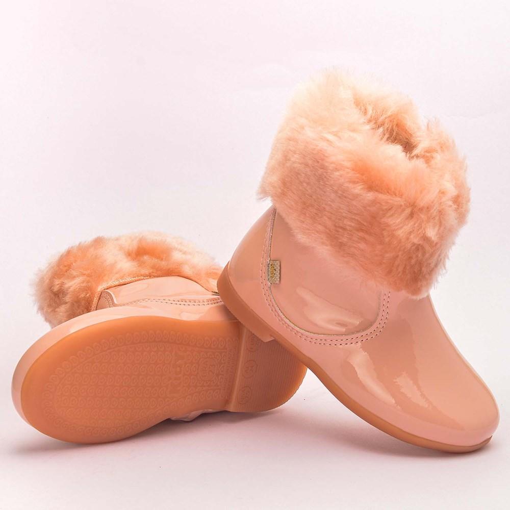 Bota Infantil Feminina Soft com Pelo Nude