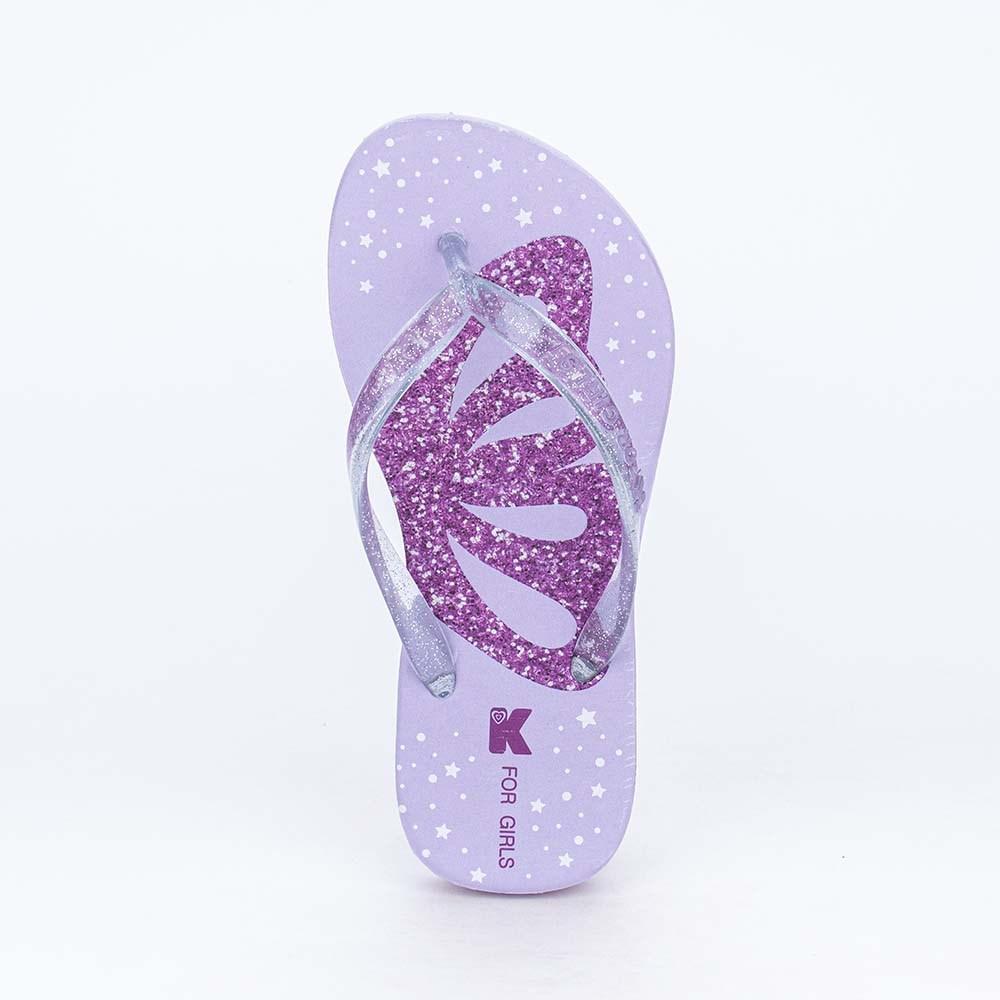 Chinelo de Dedo Kidy Borboleta com Tiras em Glitter Lilás