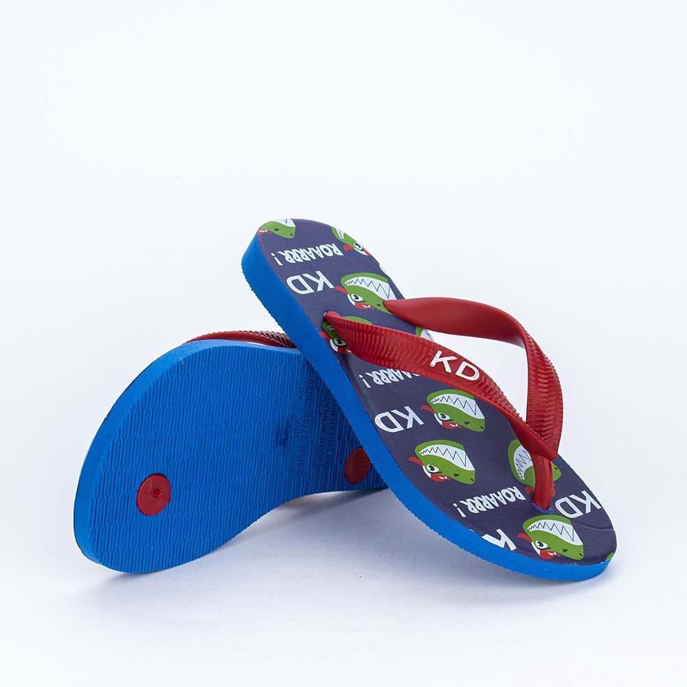 Chinelo de Dedo Kidy Dinossauro para meninos Azul e Vermelho