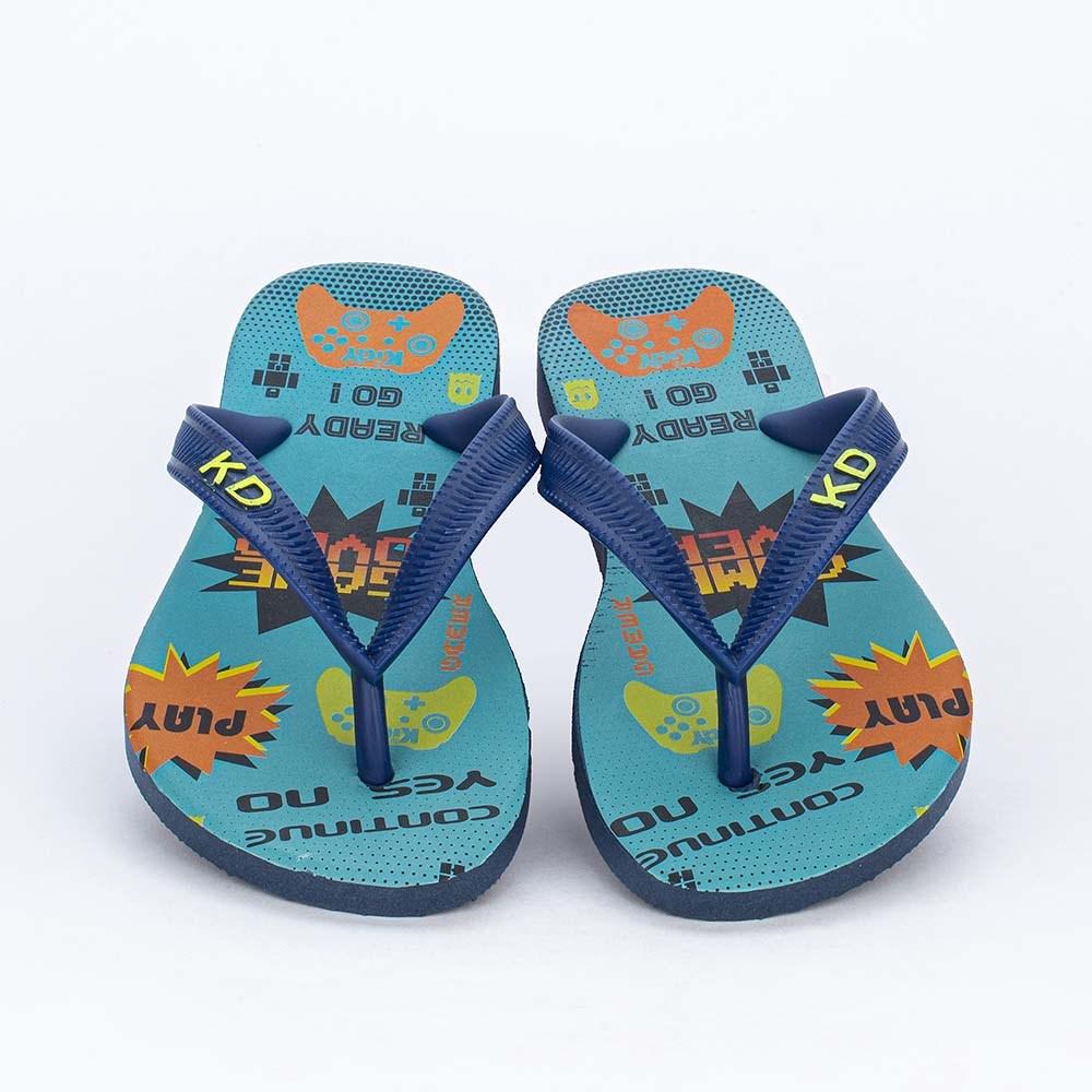 Chinelo de Dedo Kidy Gamer para meninos Azul e Marinho