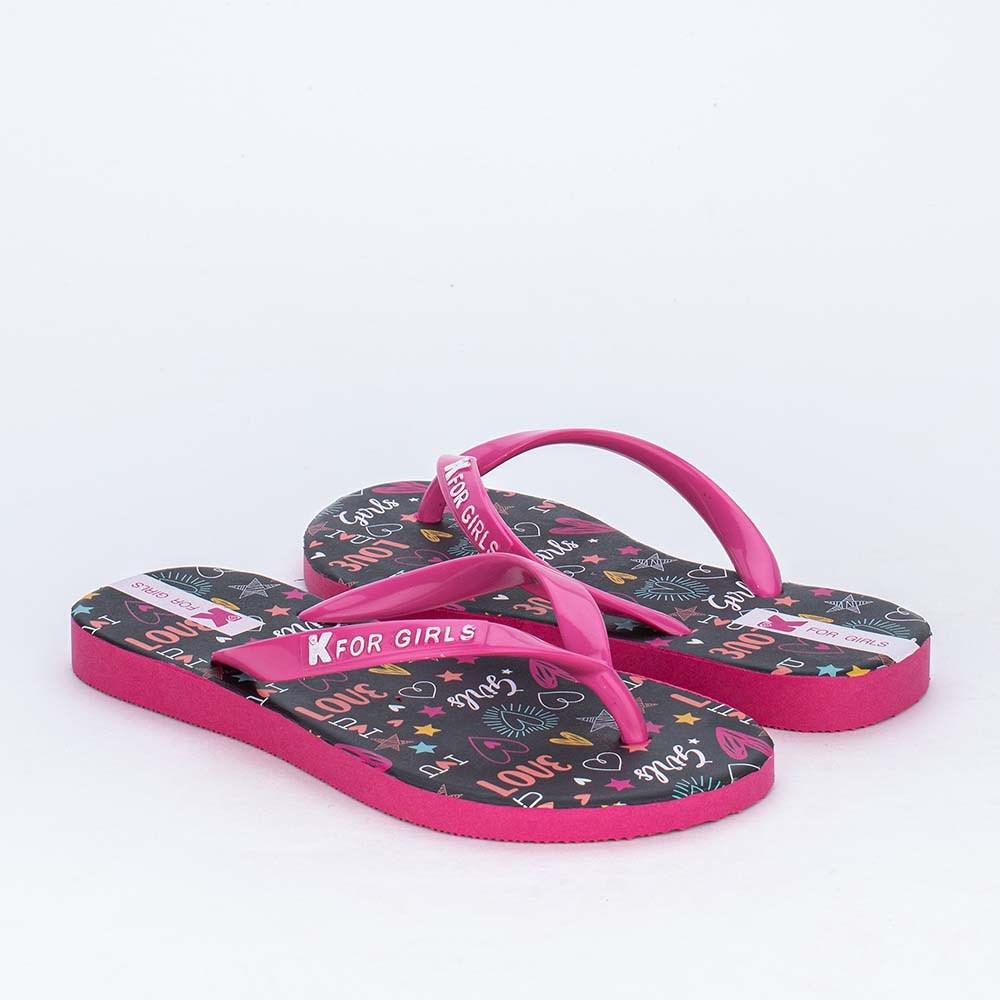 Chinelo de Dedo Kidy para Meninas com Lettering Preto e Pink