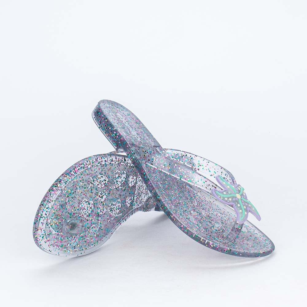 Chinelo de Dedo Menina Mar e Cor Sereia com Glitter Colorido