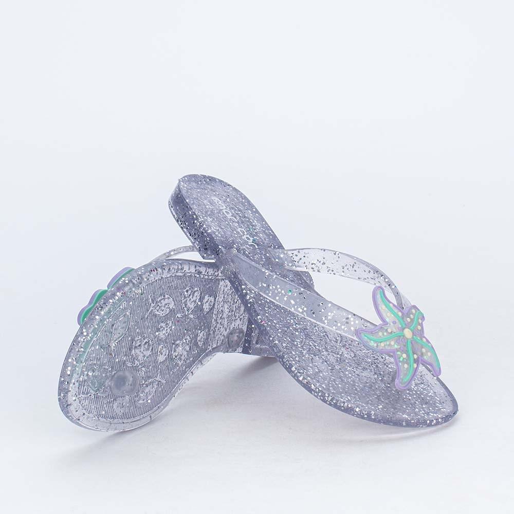 Chinelo de Dedo Menina Mar e Cor Sereia com Glitter Prata