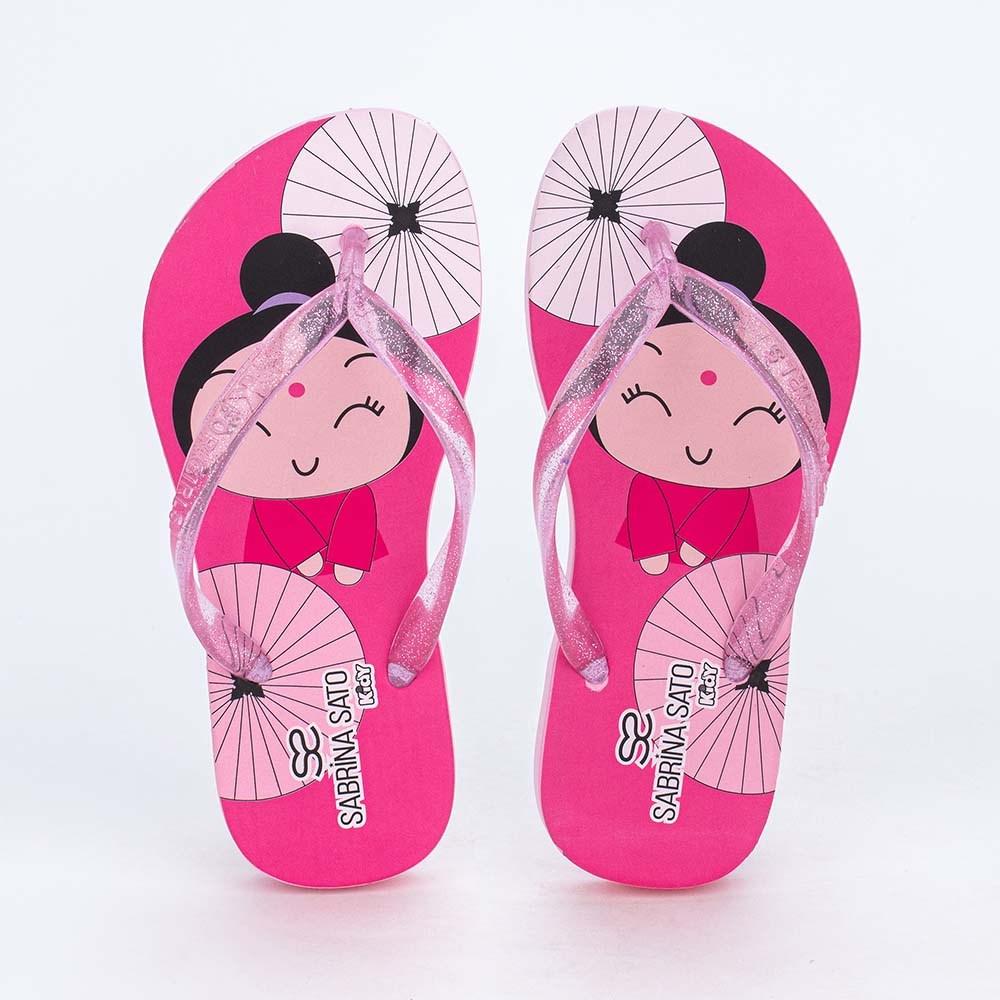 Chinelo de Dedo Menina Sabrina Sato Oriental Glitter Pink