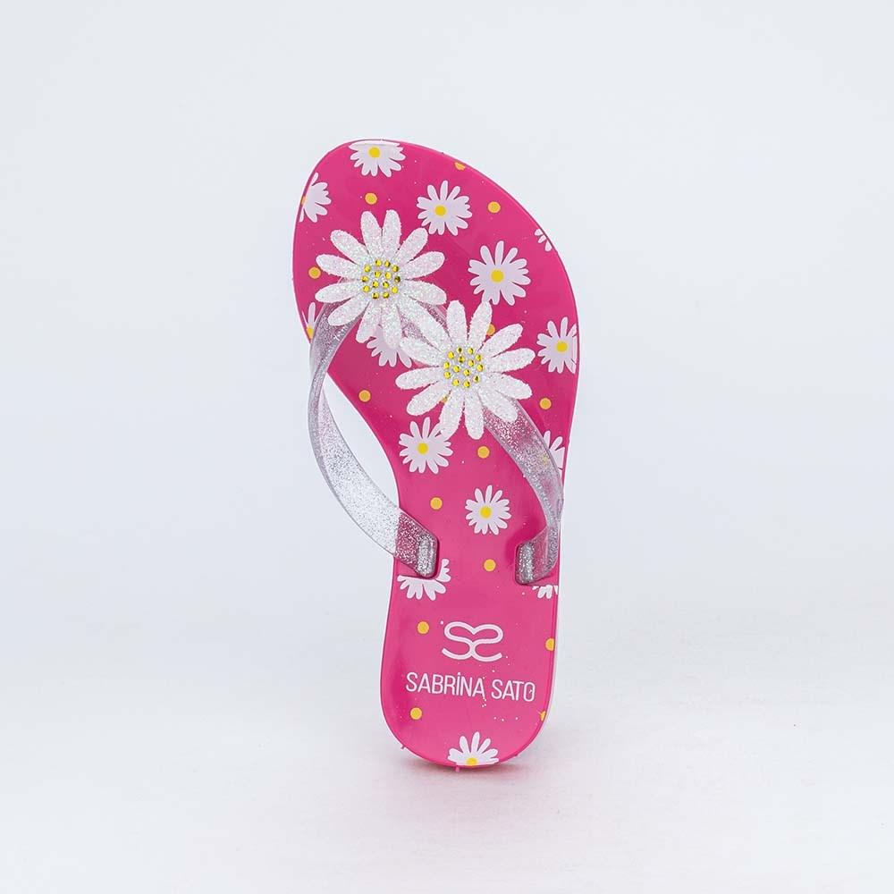 Chinelo de Dedo Menina Sabrina Sato Pink com Flores