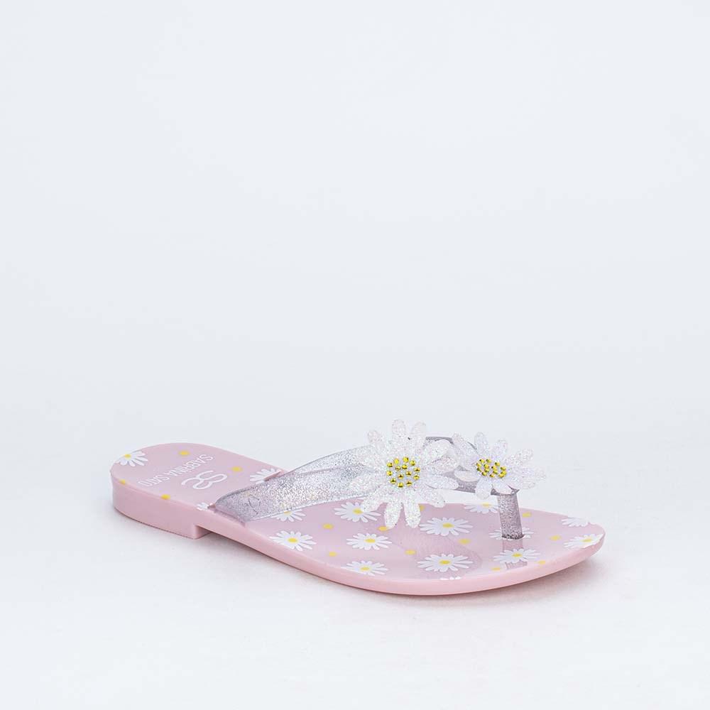 Chinelo de Dedo Menina Sabrina Sato Rosa Nude com Flores