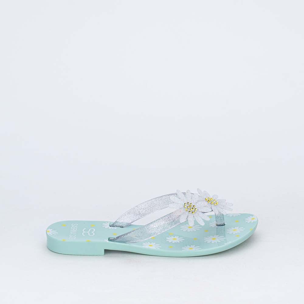 Chinelo de Dedo Menina Sabrina Sato Verde com Flores