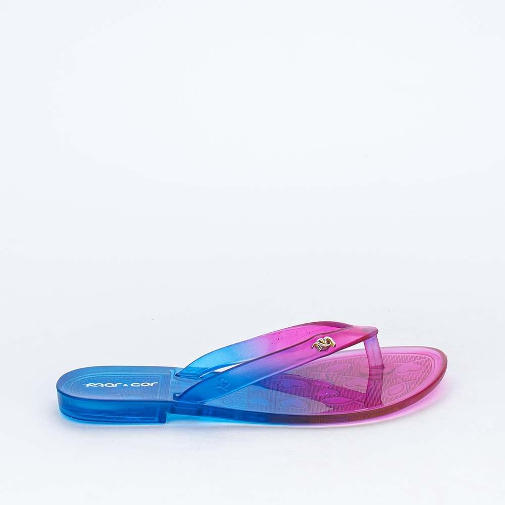 Chinelo de Dedo para Menina Mar e Cor Pink e Azul