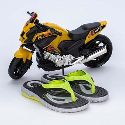 Chinelo Infantil Wave Preto e Neon com Moto para brincar