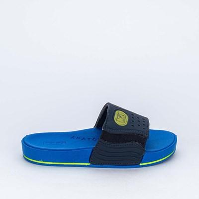 Chinelo Slide Infantil Masculino Marinho e Azul Royal e Neon