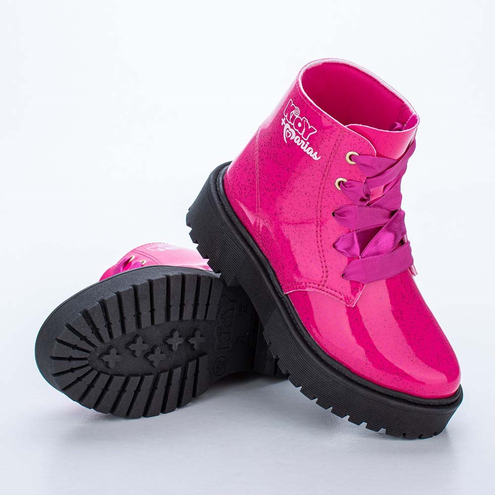 Coturno Infantil Feminino Kidy Mais Marias Pink com Glitter
