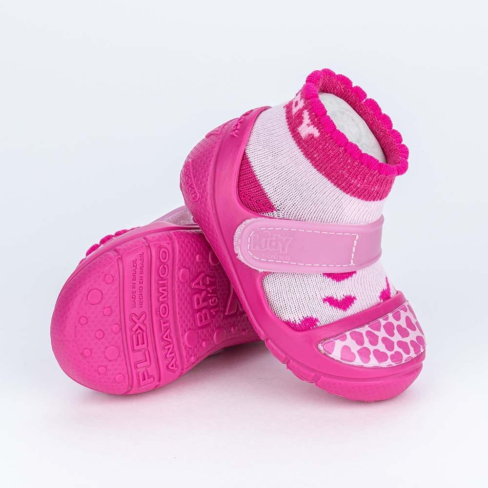 Dois em Um Meia Sapatilha para Bebê Menina com Corações Pink