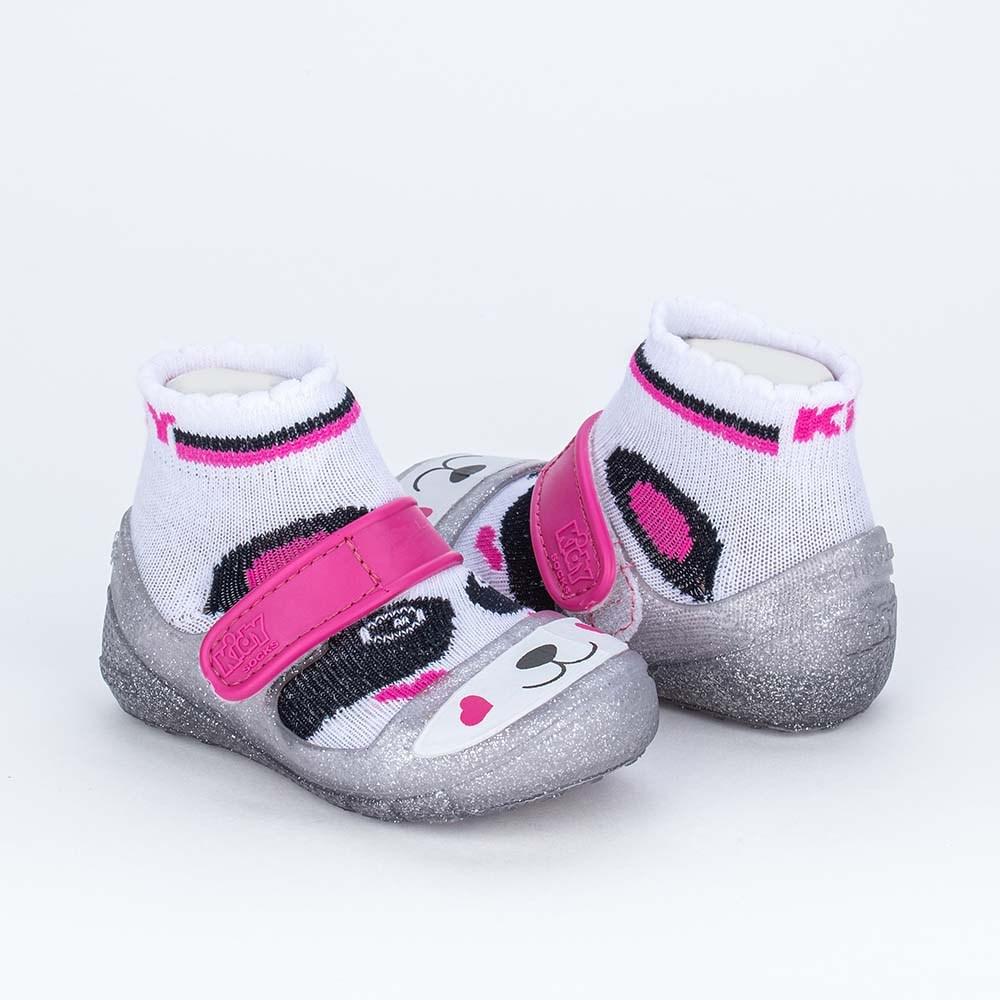 Dois em Um Meia Sapatilha para Bebê Menina Panda Cristal