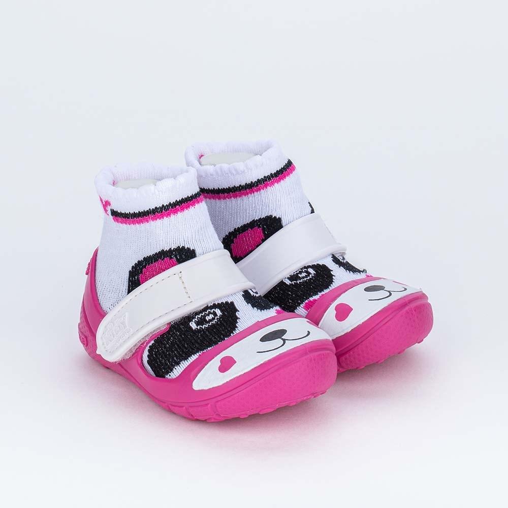 Dois em Um Meia Sapatilha para Bebê Menina Panda Pink
