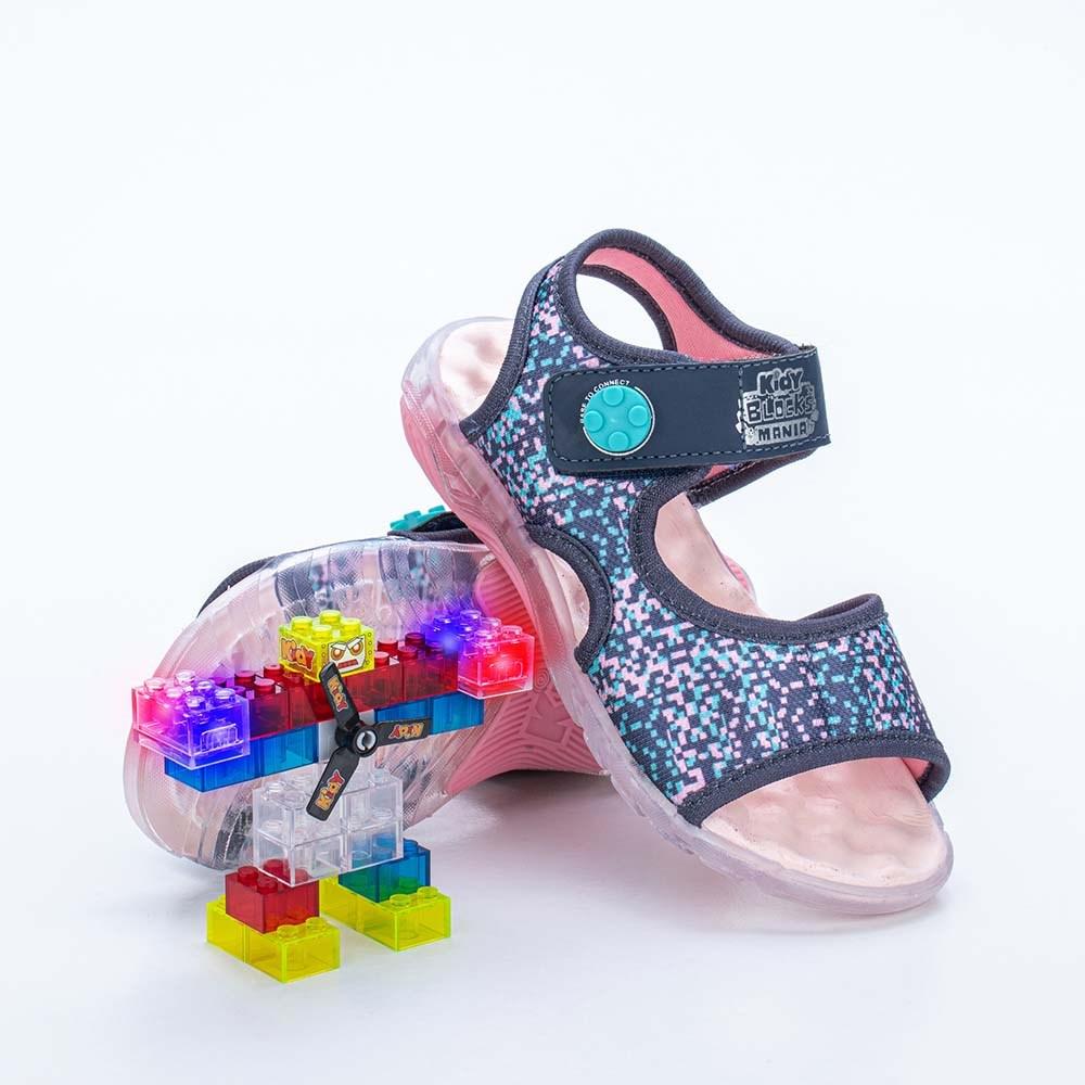 Papete Infantil Feminina Kidy Blocks Mania Marinho e Rosa  com brinquedo
