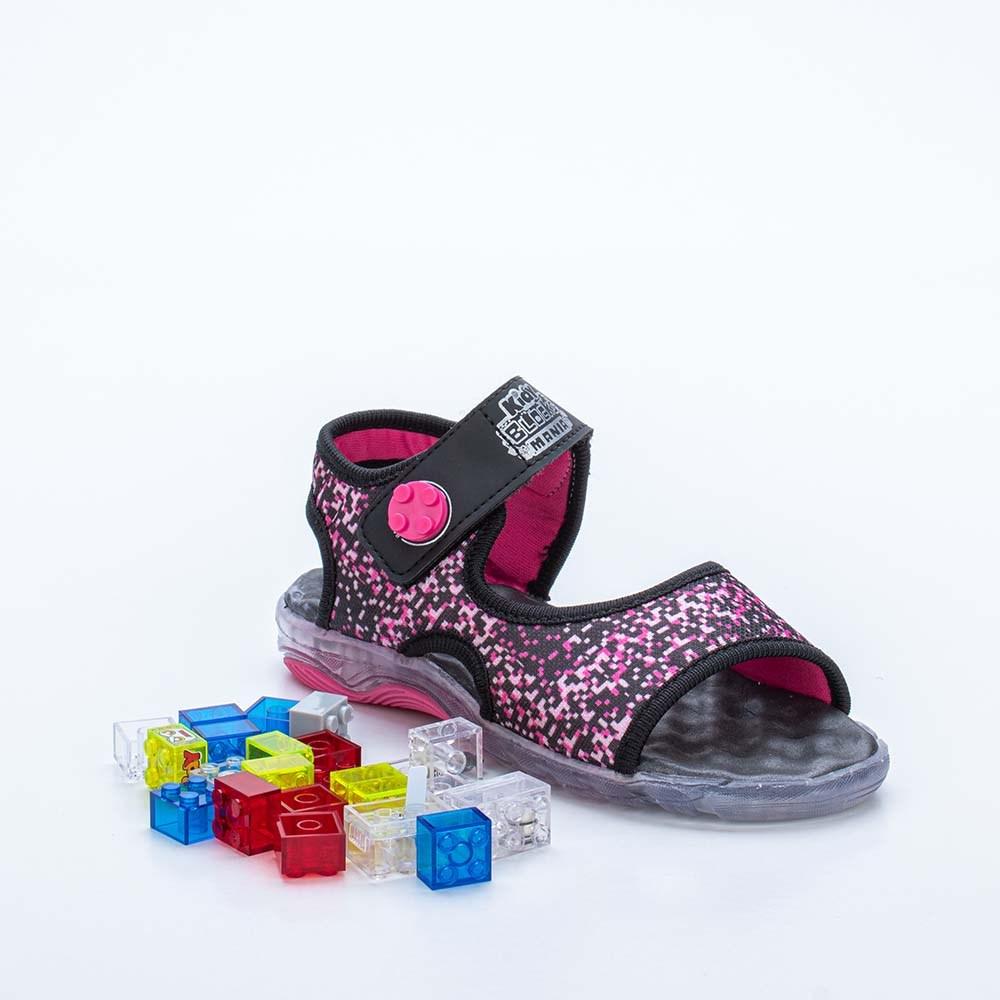 Papete Infantil Feminina Kidy Blocks Mania Preto e Pink  com brinquedo