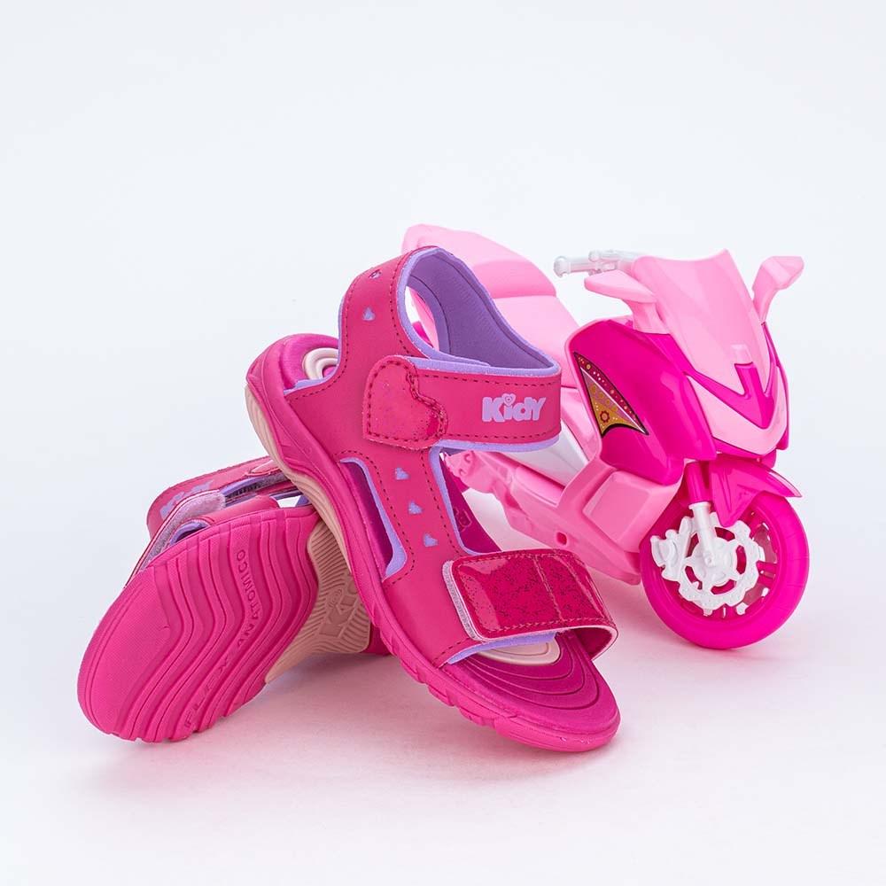 Papete Infantil Feminino com Feche de Coração Pink e Scooter