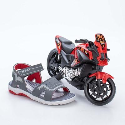 Papete Infantil Masculino Wave Grafite e Vermelho com Moto