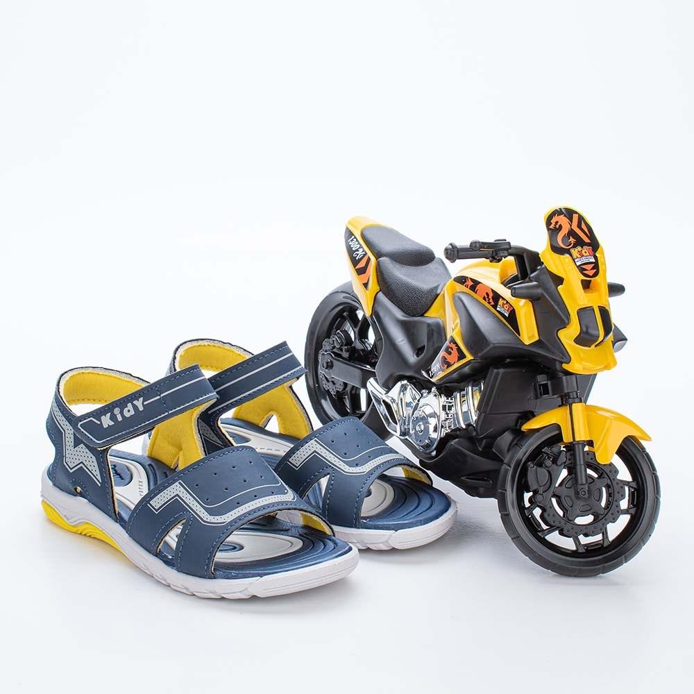 Papete Infantil Masculino Wave Marinho e Amarelo com Moto