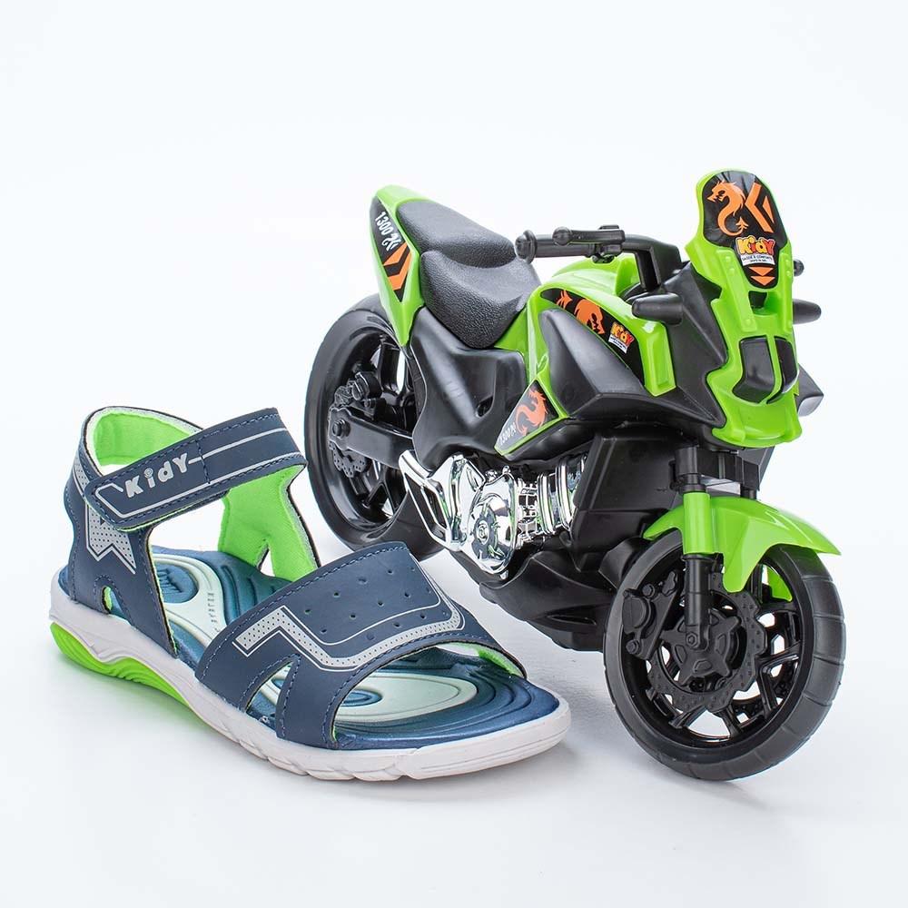 Papete Infantil Masculino Wave Marinho e Neon com Moto