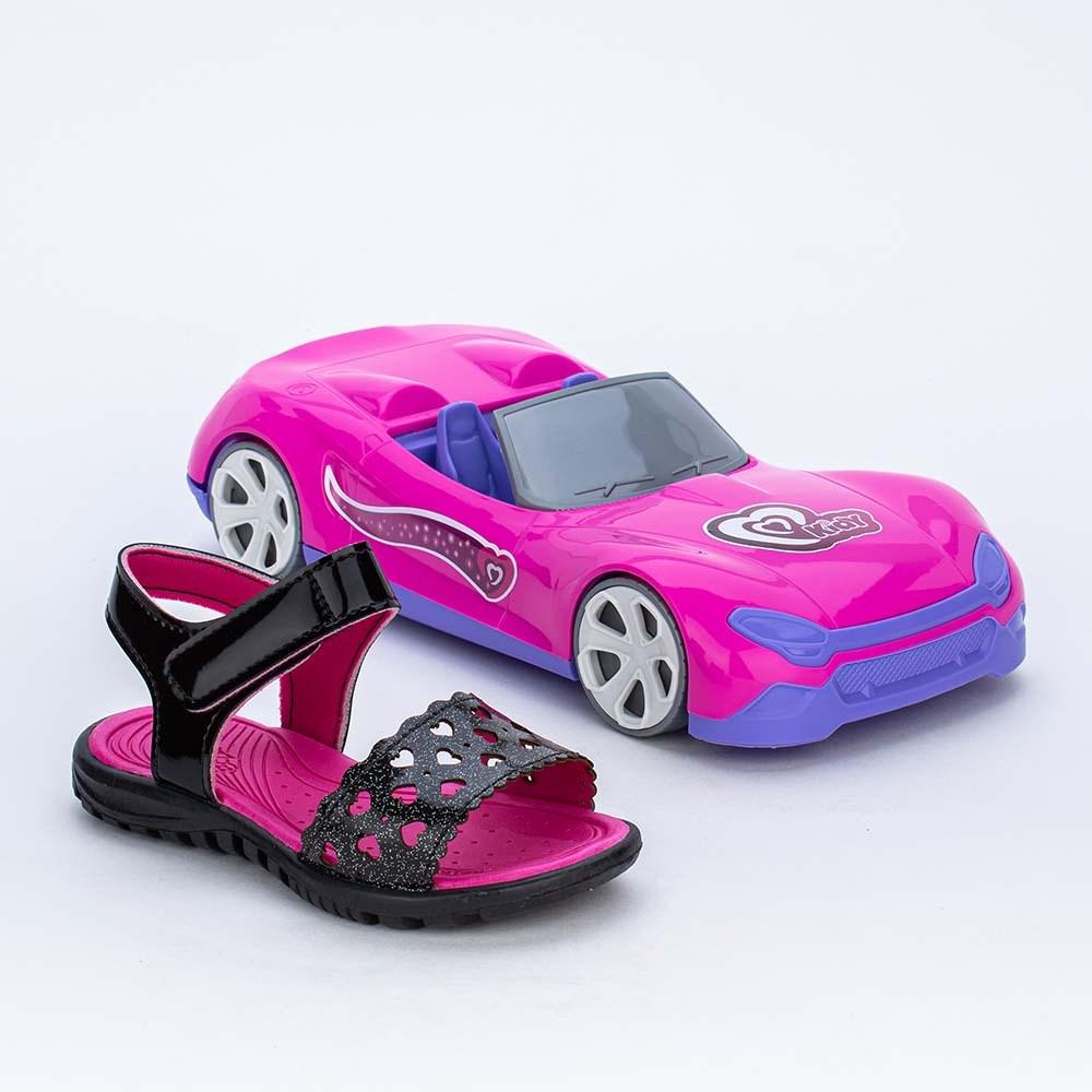 Papete Infantil Menina Preta Glitter e Carrinho Conversível