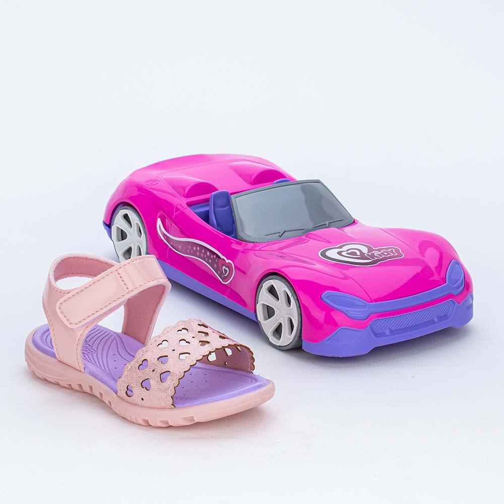 Papete Infantil Menina Rosa Glitter e Carrinho Conversível