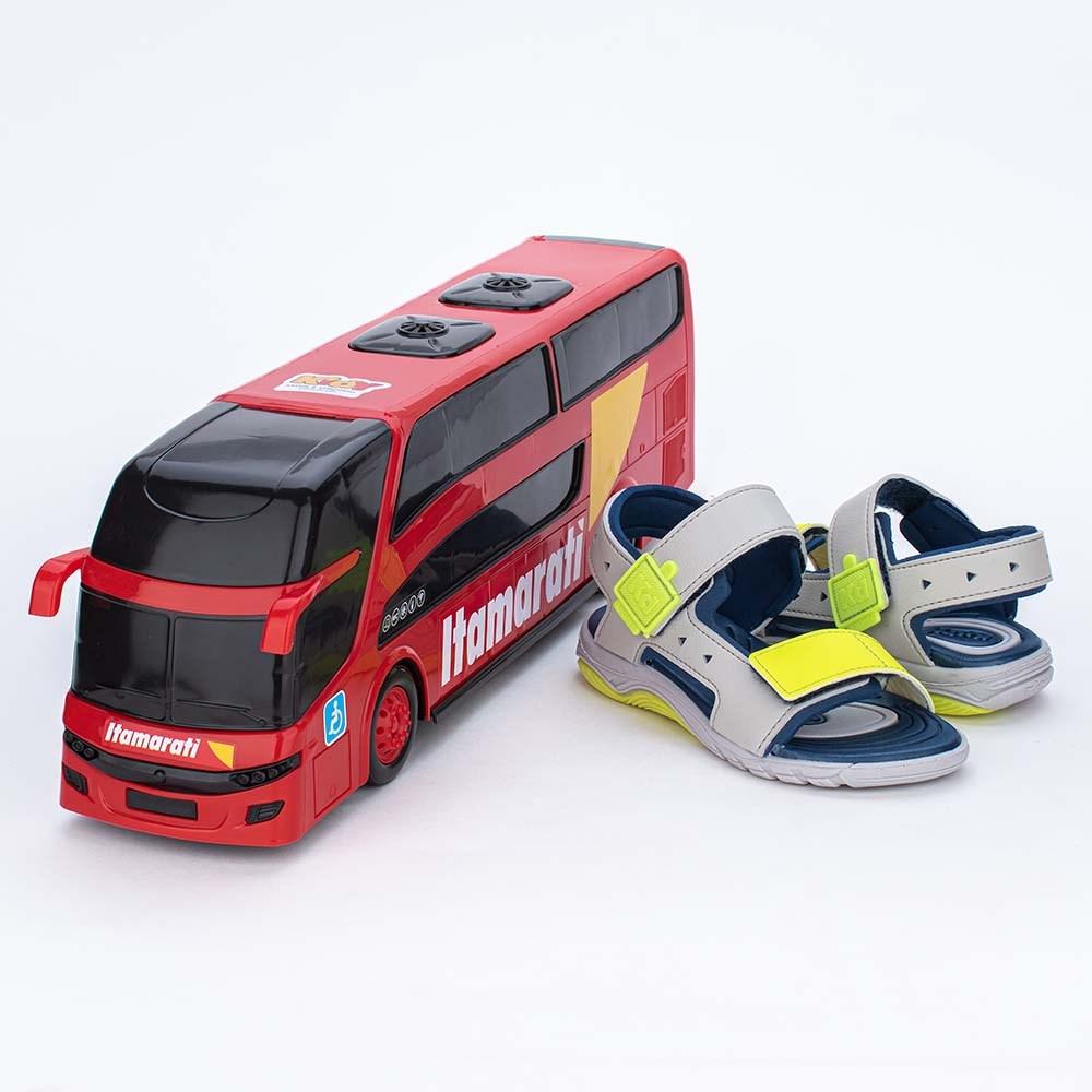 Papete Infantil Wave Cinza e Neon com Ônibus para brincar