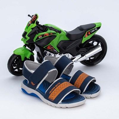 Papete Infantil Wave Marinho e Laranja com Moto para brincar