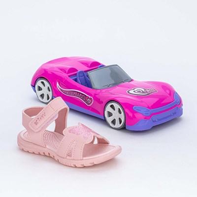 Papete Menina Borboleta de Glitter Rosa e Carro Conversível